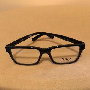 POLO men's designer SHINY BLACK glasses NWT
